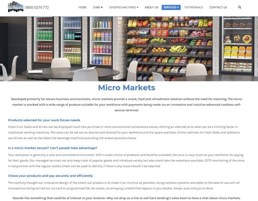 care vending micro markets vending solution